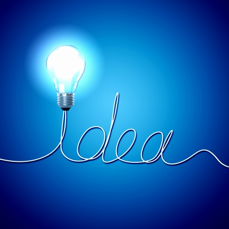 invent: Abstract Light Bulb with the word Idea on blue background  Stock Photo