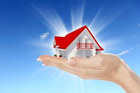 Hand holding offer house Real estate concept Handful collection