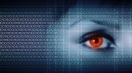 Eye viewing digital information represented by ones and zeros Stock Photo - 16318386