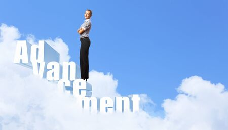 leadership development: Image of confident business preson with awaiting career growth