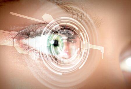 future technology: Eye viewing digital information represented by circles and signs