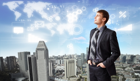 Image of business person with digital symbols Stock Photo - 16490668