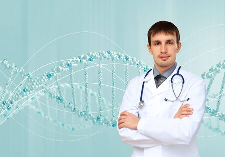 Image of DNA strand against colour background Stock Photo - 16490575