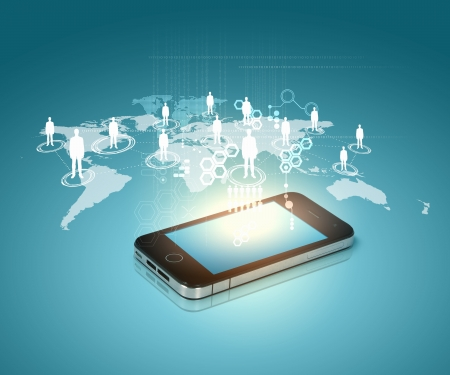 Modern communication technology illustration with mobile phone and high tech background Stock Illustration - 16524719