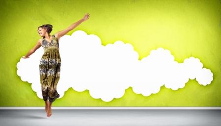 Modern style female dancer jumping and posing  Illustration
