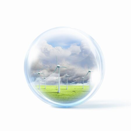 A group of wind turbines or windmills inside a glass sphere Stock Photo - 16524679