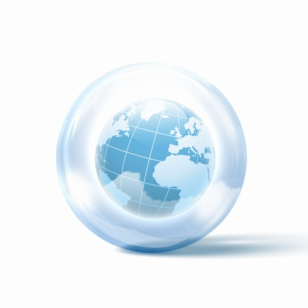 the world or our planet earth inside a glass sphere Stock Photo - 16524672