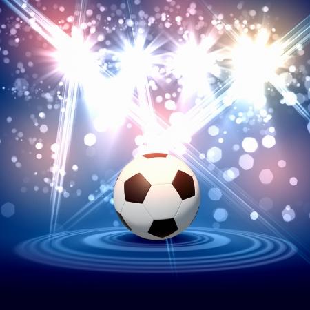 goal kick: Black and white football or soccer ball, colour illustration