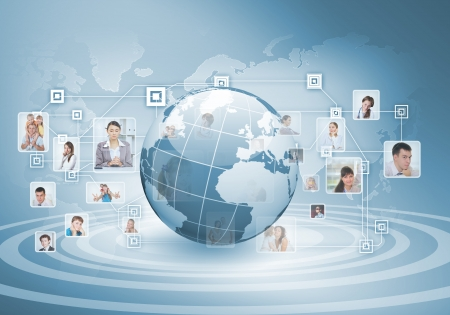 worldwide: Symbol of social network with people images Stock Photo