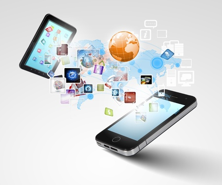 commerce communication: Modern communication technology illustration with mobile phone and high tech background Stock Photo