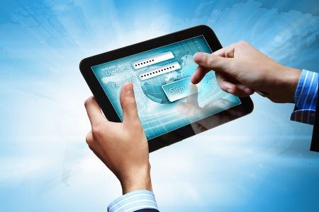 Login with email and password on computer screen Stock Photo - 16525389