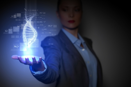 entwined: DNA science background with business person on the background