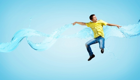 Modern style male dancer jumping and posing  Illustration illustration