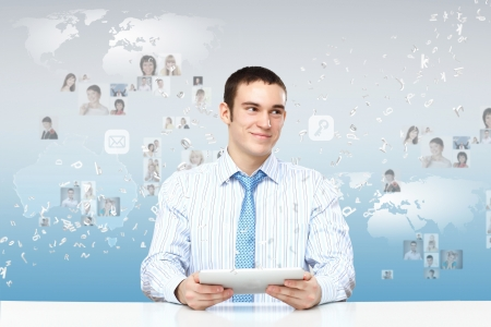 group solution: Young business person working with a notebook Stock Photo