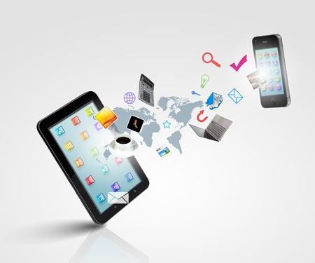 web commerce: La moderna tecnologia, illustrazione, comunicazione con il telefono mobile e ad alta tecnologia sfondo