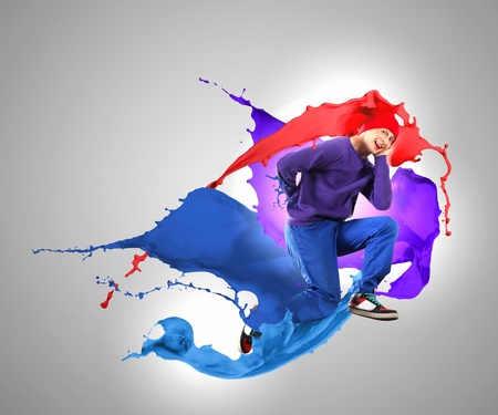 Modern style dancer jumping and paint splashes Illustration Stock Illustration - 16589741