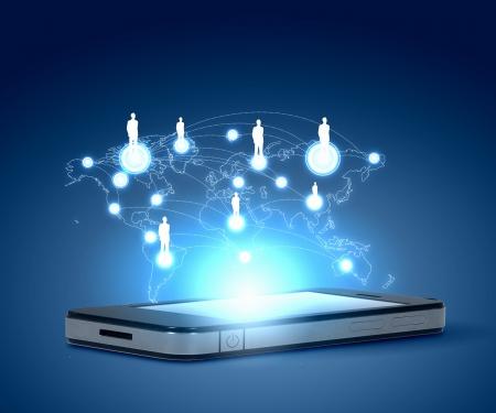 휴대 전화 및 하이테크 배경으로 현대 통신 기술의 그림