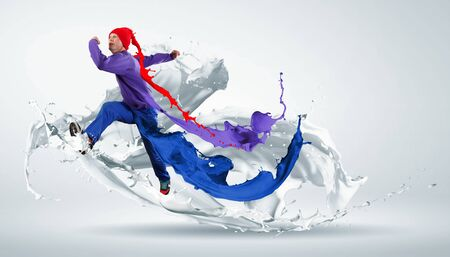 Modern style dancer jumping and paint splashes Illustration Stock Illustration - 16589653