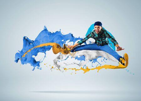 Modern style dancer jumping and paint splashes Illustration Stock Illustration - 16655170