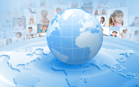 information society: Image of our planet as symbol of social networking Stock Photo