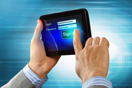 Login with email and password on computer screen Stock Photo - 16600120