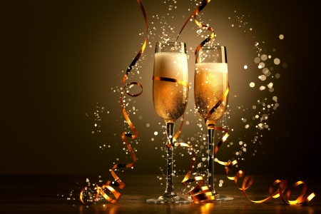 champagne glasses: Two champagne glasses ready to bring in the New Year