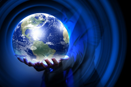 Blue global technology background with the planet Earth  Elements of this image furnished by NASA  photo