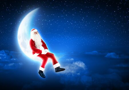 christmasbackground: Santa Claus sitting on shiny moon above winter forest