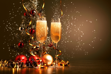 christmas eve: Two champagne glasses ready to bring in the New Year