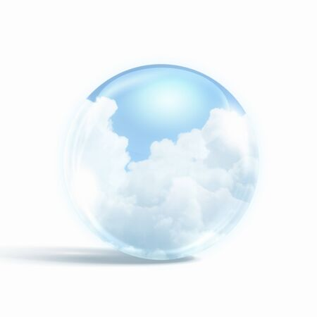 White clouds in blue sky inside a glass sphere Stock Photo - 16599862