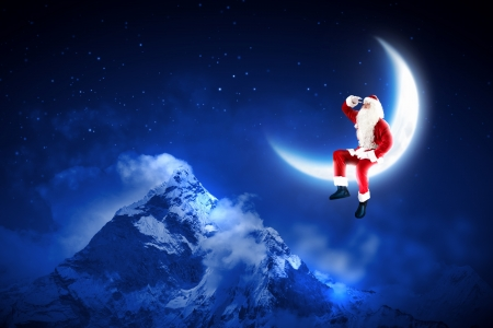 Santa Claus sitting on shiny moon above winter forest Stock Photo - 16616632