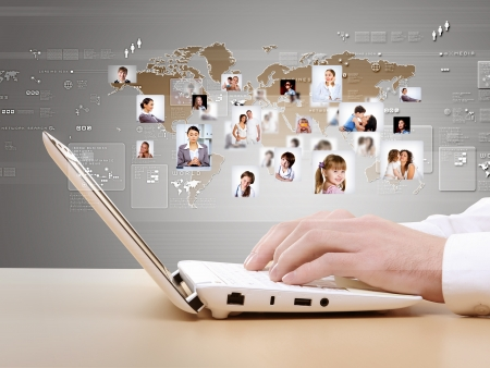 innovative: Computer keyboard and multiple social media images