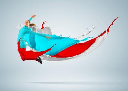 Modern style dancer jumping and paint splashes Illustration Stock Illustration - 16655160