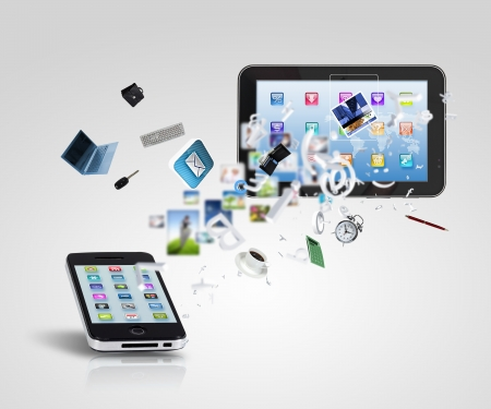 smartphone business: Modern communication technology illustration with mobile phone and high tech background Stock Photo