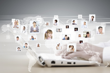 networking people: Symbol of social network with people images Stock Photo