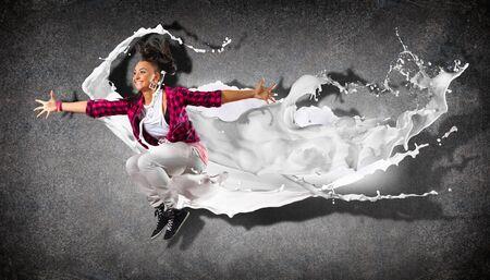 Modern style dancer jumping and paint splashes  Illustration Stock Illustration - 16671623