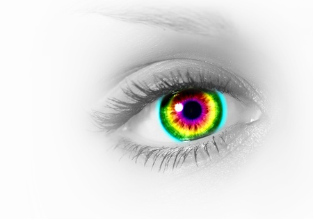 Photo of the human eye against grey background photo