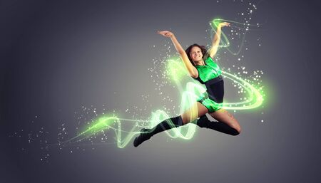 Young woman dancer illustration  With lights effect  illustration