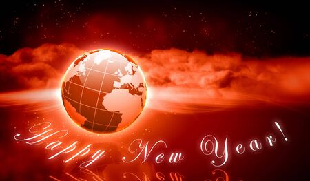 Earth symbol of the new year on our planet  Happy New Year and Merry Christmas photo