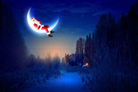 christmastree:  Santa Claus sitting on shiny moon above winter forest Stock Photo