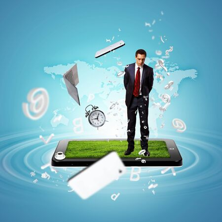 Modern technology illustration with computers and business person illustration