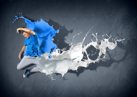 Modern style dancer jumping and paint splashes Illustration Stock Illustration - 16671622