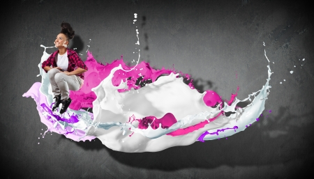 Modern style dancer jumping and paint splashes Stock Photo - 16690241