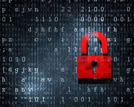 lösenord: Säkerhetskoncept Lås på digital skärm, illustration Stockfoto