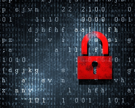 Sicherheitskonzept Lock on digitalen Bildschirm, illustration