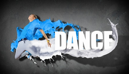 Modern style dancer jumping and the word Dance  Illustration illustration