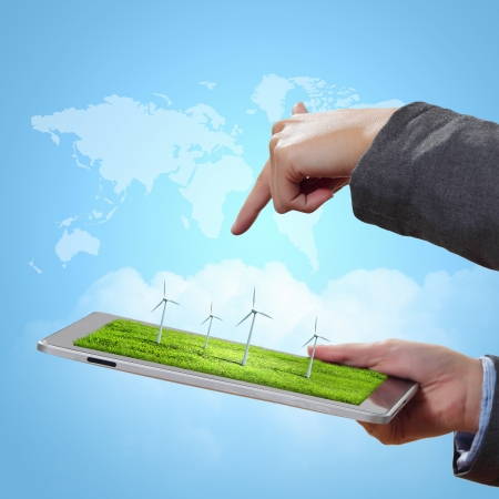 renewable energy resources: Modern green technology for ecology protection illustration Stock Photo