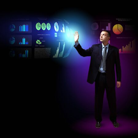 Modern people doing business, young businessman with money symbols Stock Photo - 16690316