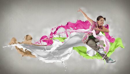 Modern style dancer jumping and paint splashes Illustration Stock Illustration - 16690287