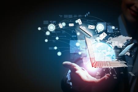 technologie: Moderní bezdrátové technologie a sociální média ilustrace Reklamní fotografie